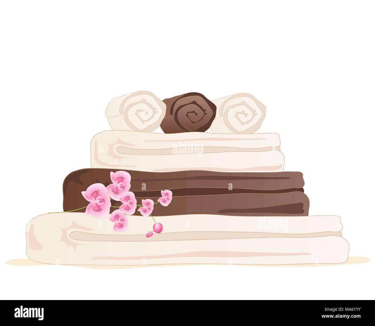 Una illustrazione vettoriale in formato eps formato 10 di cioccolato e crema di colore stack asciugamano con rosa orchid isolato su uno sfondo bianco Immagini Stock