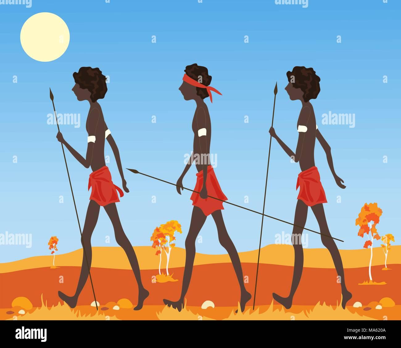 Una illustrazione vettoriale in formato eps formato 10 di tre aborigeno australiano uomini vestiti in abiti tradizionali passeggiate nell'entroterra Immagini Stock