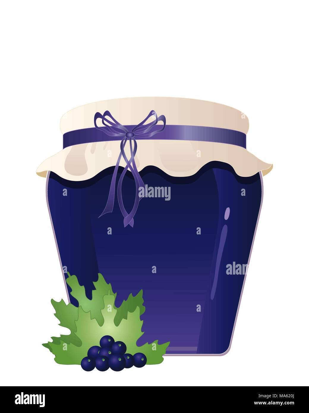 Una illustrazione vettoriale in formato eps formato 10 di un vasetto di fatto in casa biologica marmellata di ribes nero con un coperchio di Hesse decorazione di frutta e la prua isolato Immagini Stock