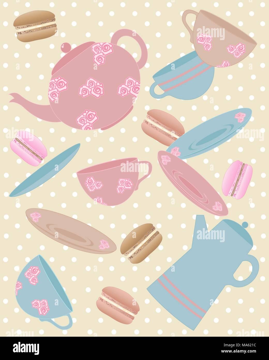 Una illustrazione vettoriale in formato eps formato 10 di elementi da un cafe compresi teiera tazza piattino POT del caffè e amaretti in colori vintage Immagini Stock