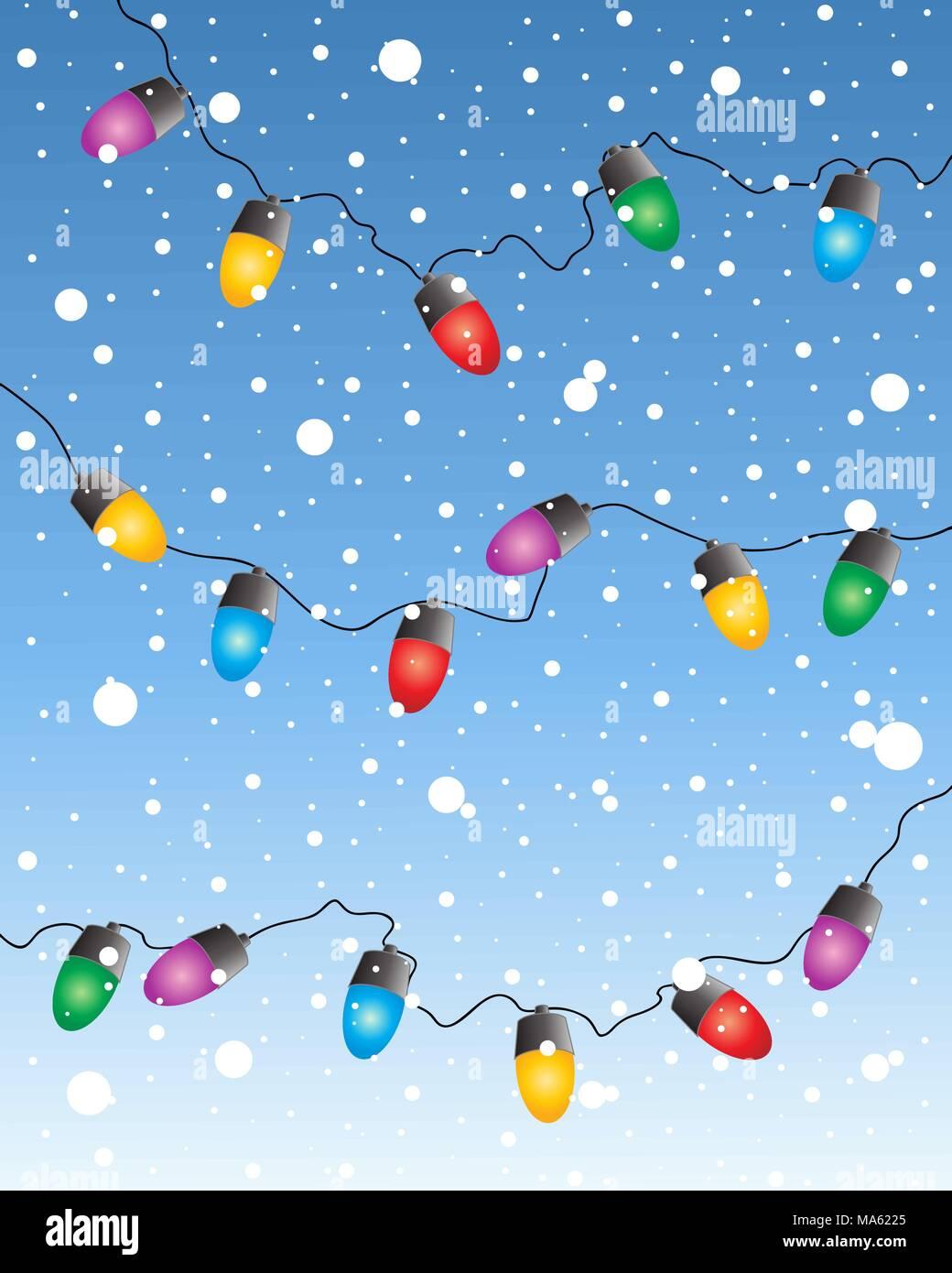 Una illustrazione vettoriale in formato eps formato 10 di un set colorato della favola di Natale luci con uno sfondo innevato Immagini Stock