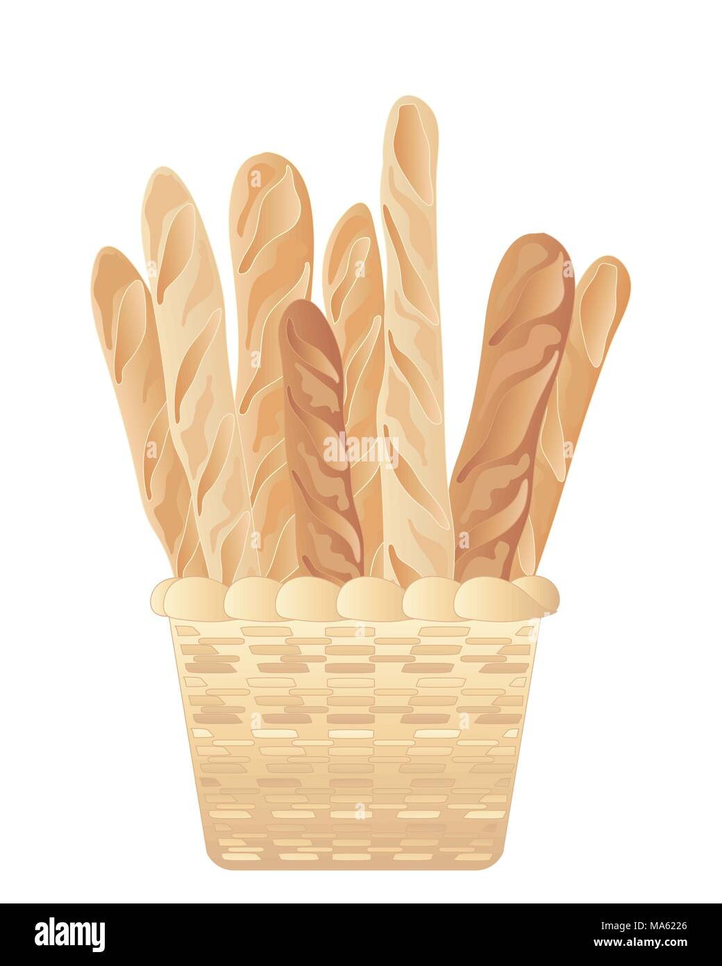 Una illustrazione vettoriale in formato eps formato 10 di un cestello di pane appena sfornato pane francese bastoni isolato su uno sfondo bianco Immagini Stock