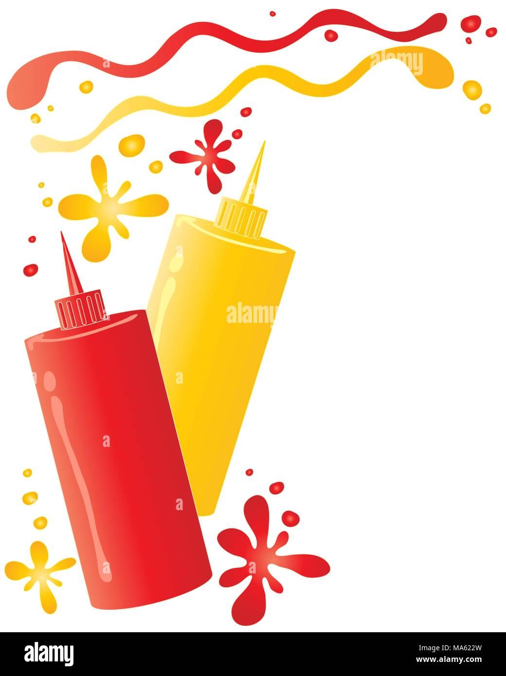 Una illustrazione vettoriale in formato eps formato 10 di salsa di due flaconi contenenti il ketchup e senape con macchie e schizzi isolato su uno sfondo bianco Immagini Stock