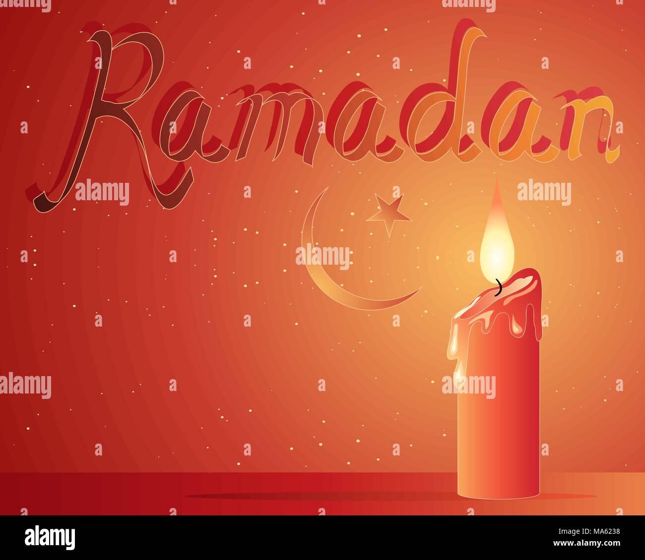 Una illustrazione vettoriale in formato eps formato 10 di un santo Ramadan festival biglietto di auguri con una candela rossa mezzaluna simbolo Immagini Stock