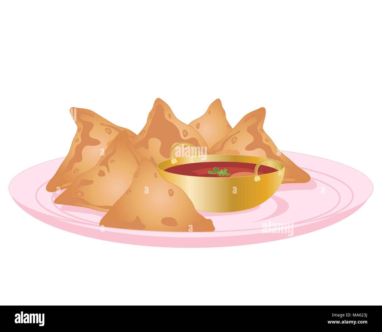 Una illustrazione vettoriale in formato eps formato 10 di alcuni indiani samosa e salsa di immersione in una piccola ciotola dorata su una piastra rosa isolato su uno sfondo bianco Immagini Stock