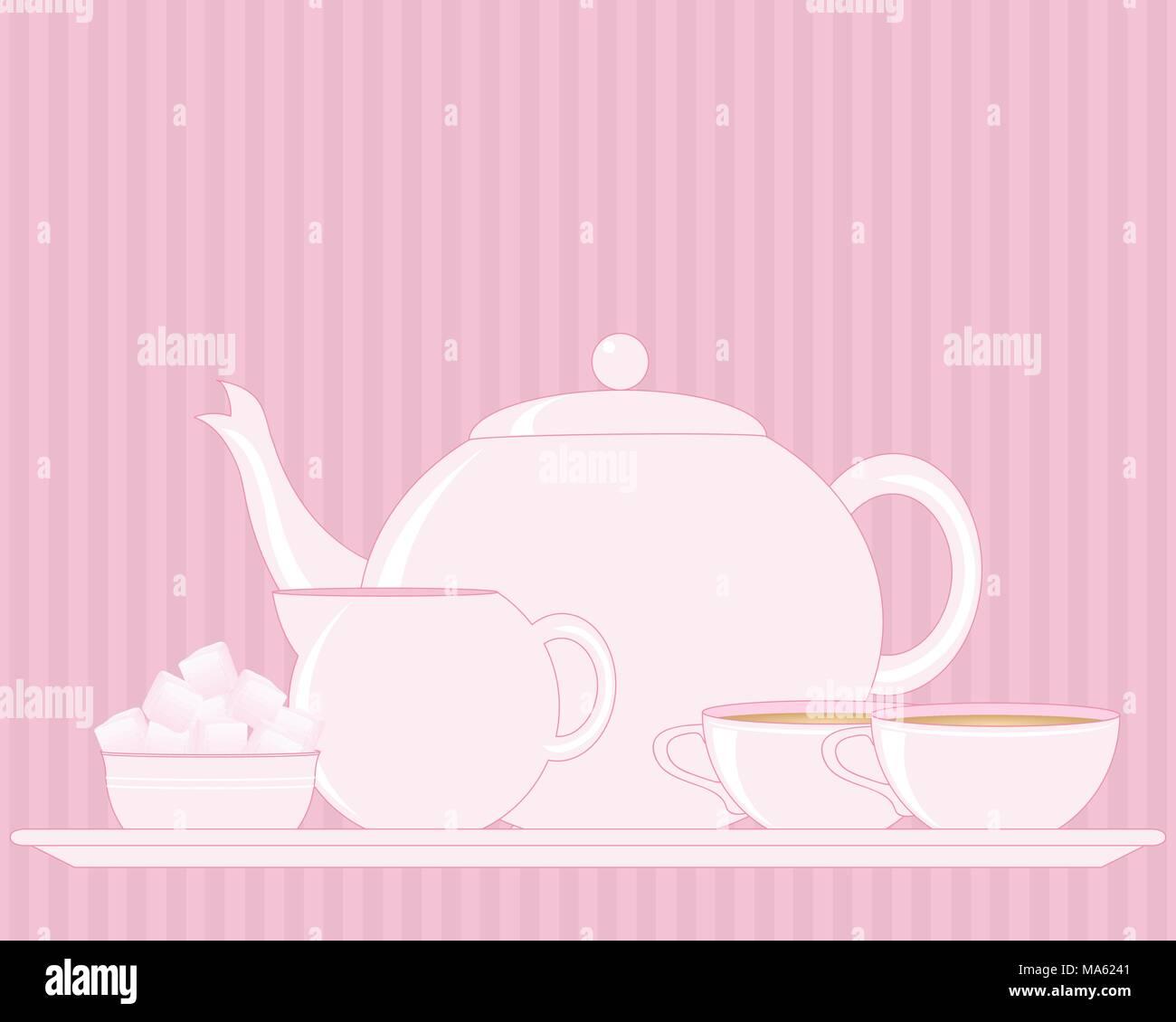 Una illustrazione vettoriale in formato eps formato 10 di un vassoio con tè impostare compresi Teiera Zuccheriera bricco per il latte e la coppa su una rosa di sfondo vintage Immagini Stock