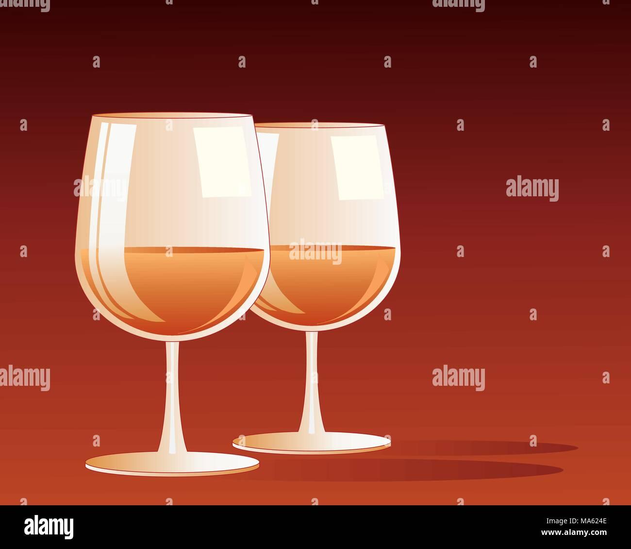 Una illustrazione vettoriale in formato eps formato 10 di due bicchieri con caldo oro brandy drink all'interno su un profondo sfondo rosso Immagini Stock