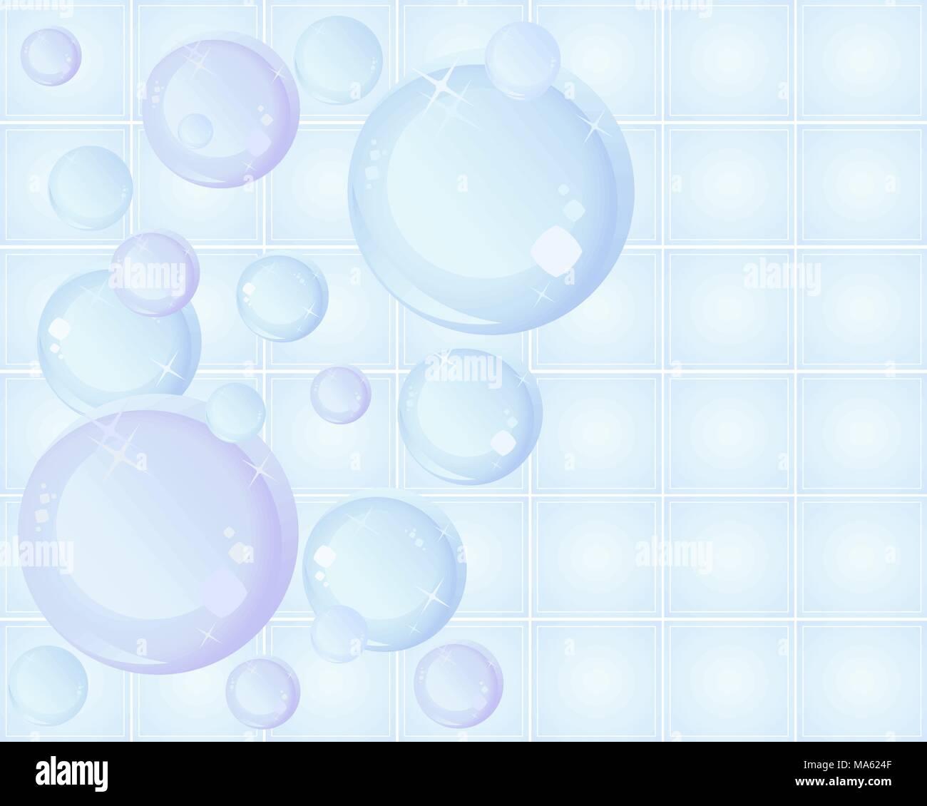 Una illustrazione vettoriale in formato eps formato 10 di bolle stilizzato su una piastrella ceramica sfondo con brillantini e spazio per il testo Immagini Stock
