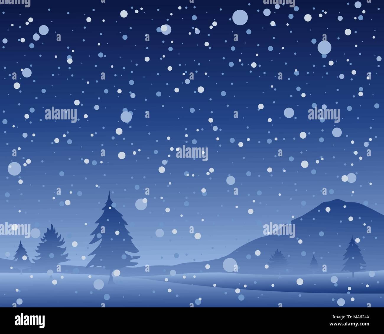Una illustrazione vettoriale in formato eps formato 10 di una bella buia notte nevosa a Natale con il paesaggio di colline e di abeti in una doccia di neve Immagini Stock