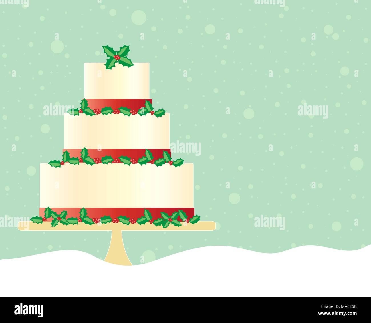 Una illustrazione vettoriale in formato eps formato 10 di una festa di Natale la torta nel saluto formato carta decorata con un nastro rosso e agrifoglio stagionali Immagini Stock