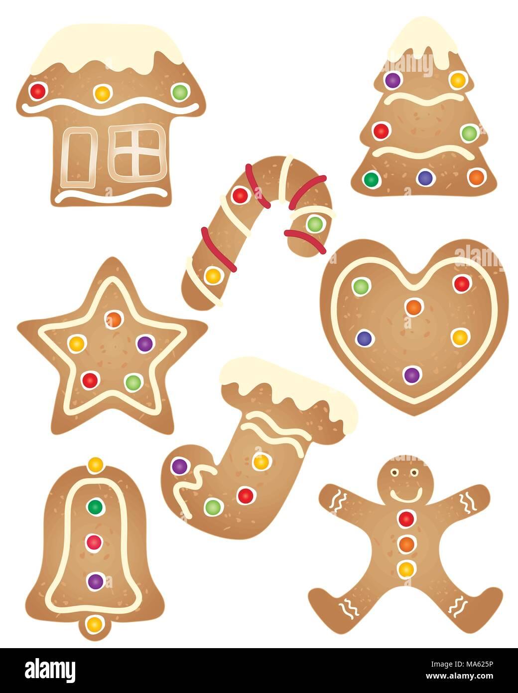 Una illustrazione vettoriale in formato eps formato 10 di una serie di vacanze di Natale gingerbread cookies con pasticceria e decorazione di glassa di crema Immagini Stock