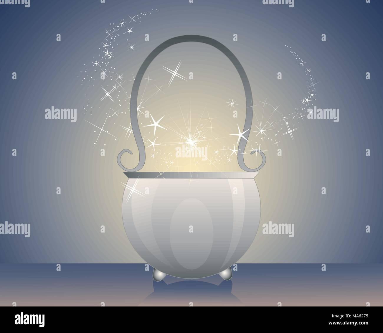 Una illustrazione vettoriale in formato eps formato 10 di un magico calderone di metallo con una pozione faville e fumo su un incandescente sfondo scuro Immagini Stock