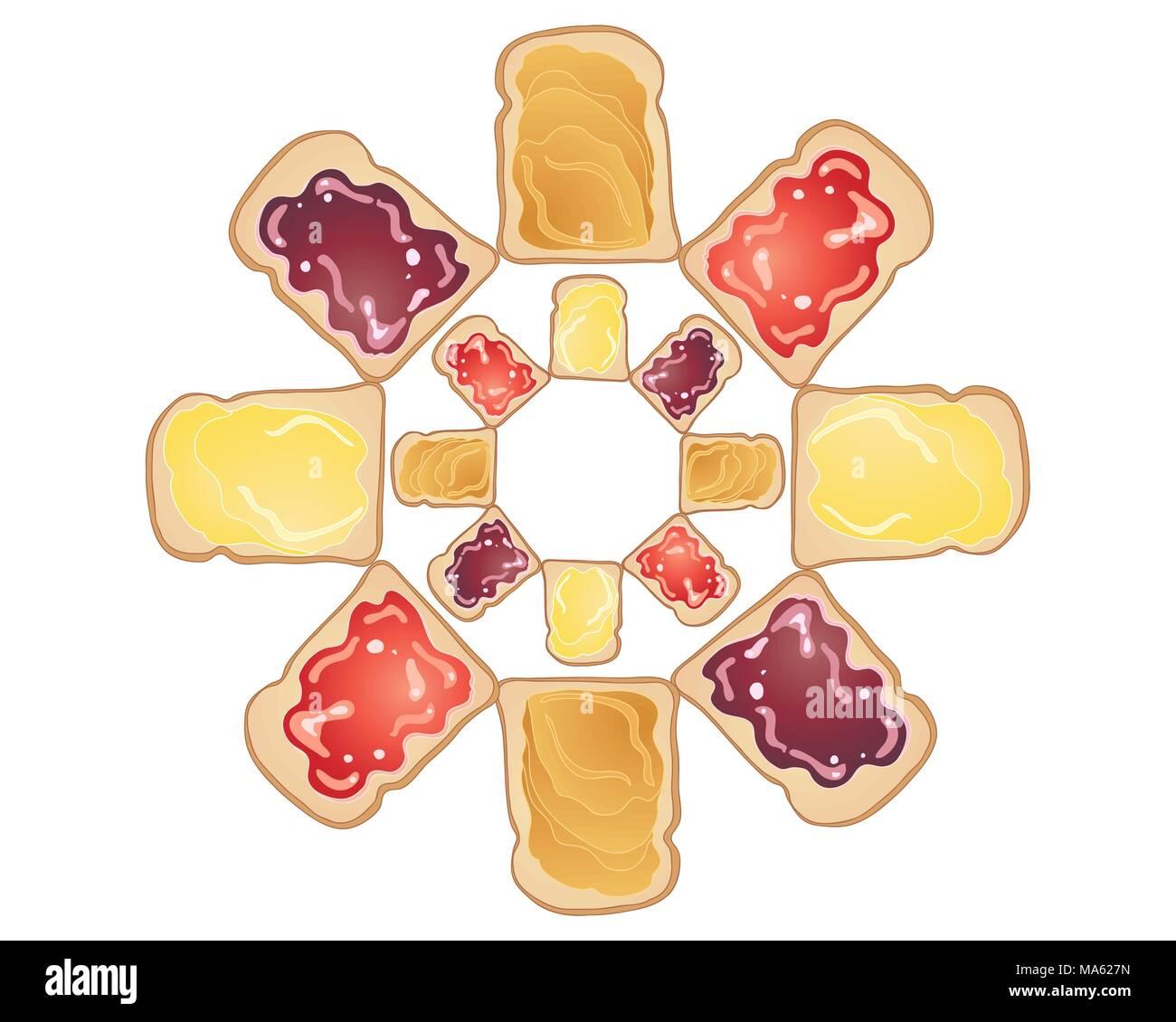 Una illustrazione vettoriale in formato eps formato 10 di freschi e deliziosi toast con burro di arachidi marmellata e burro condimenti in una forma circolare Immagini Stock