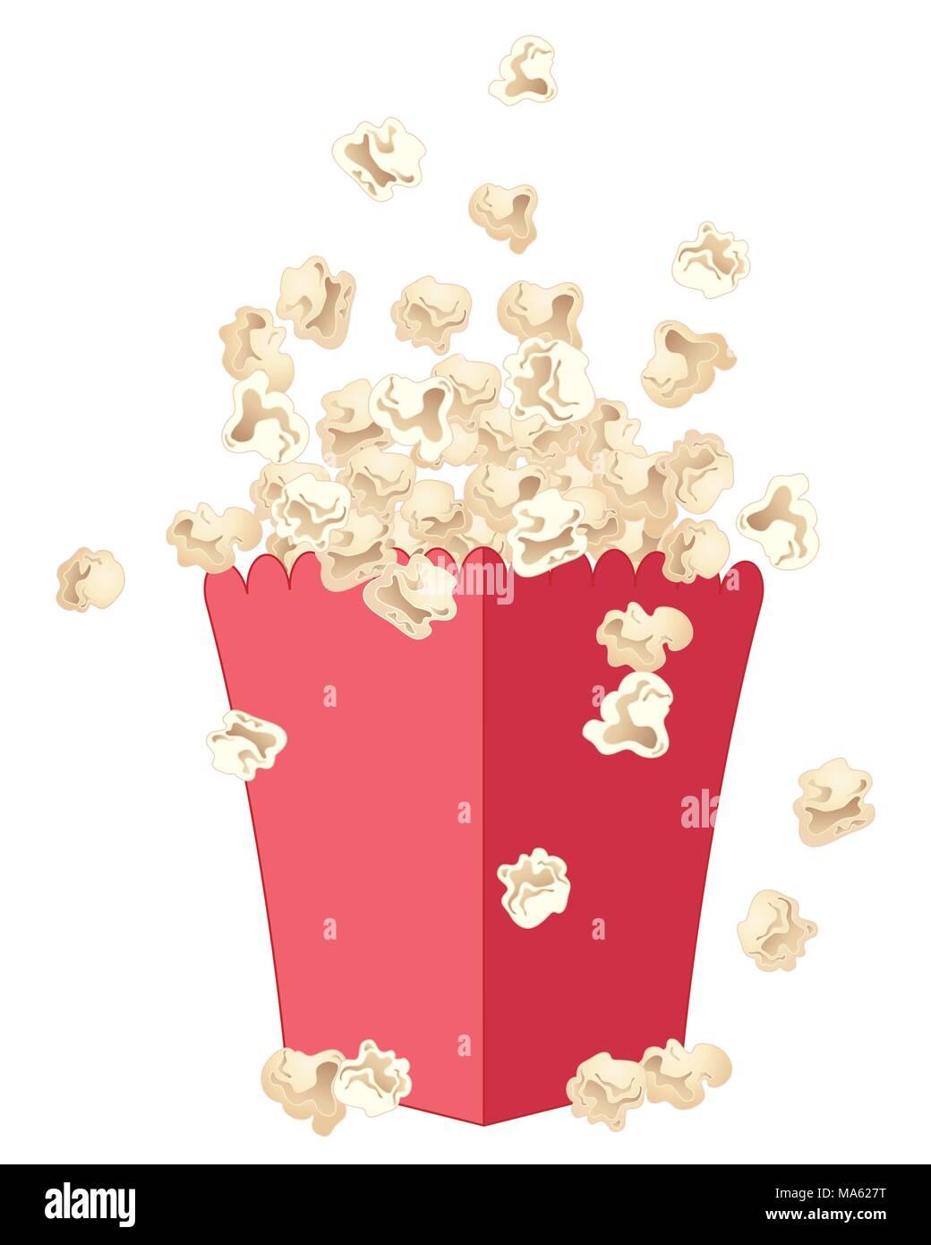 Una illustrazione vettoriale in formato eps formato 10 di freschi e deliziosi popcorn salta fuori di un rosso cartone fantasia isolato su uno sfondo bianco Immagini Stock