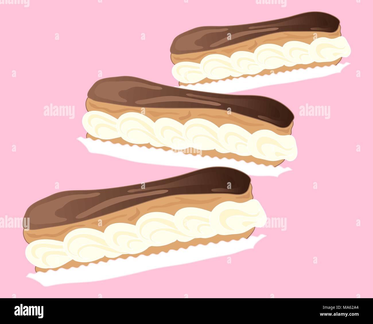 Una illustrazione vettoriale in formato eps di tre deliziose eclairs al cioccolato in formato astratta su una caramella sfondo rosa con spazio per il testo Immagini Stock