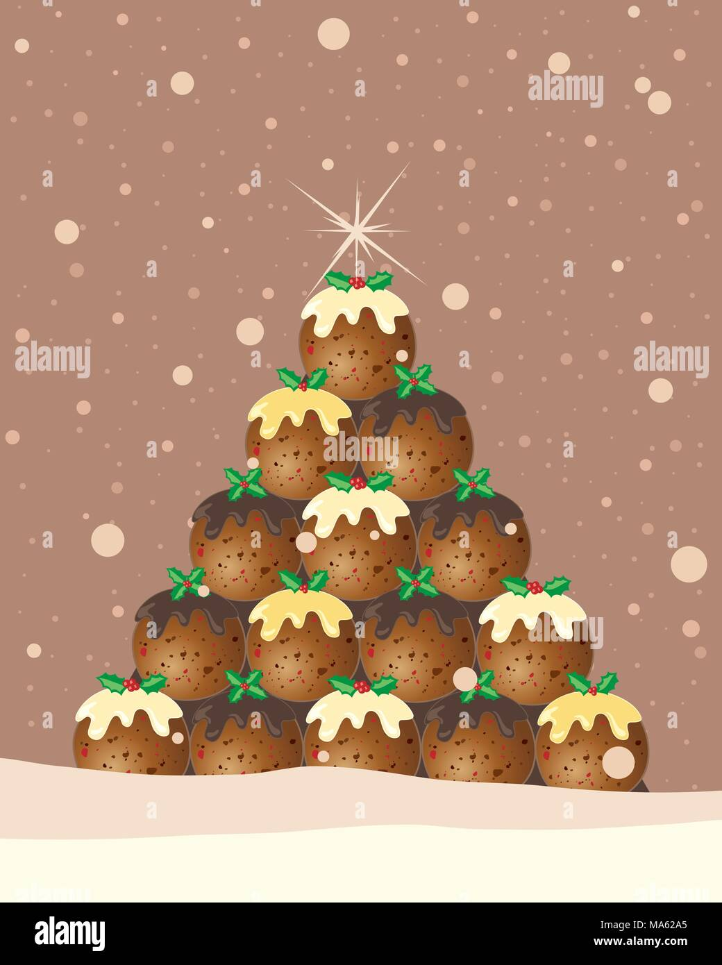 Una illustrazione vettoriale in formato eps 10 formato di un budino di Natale tree greeting card design con holly e fiocchi di neve su un cioccolato sfondo marrone Immagini Stock