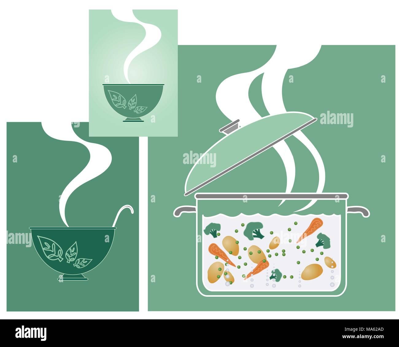 Una illustrazione vettoriale in formato eps formato 10 di verdure per la cottura in un vetro trasparente pan con vapore e ciotole in una forma astratta sui rettangoli verdi Immagini Stock