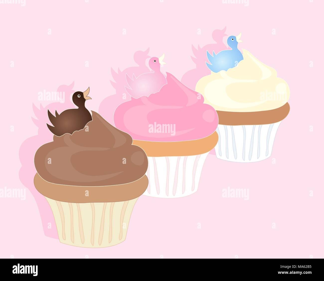 Una illustrazione vettoriale in formato eps formato 10 di tre Deliziose tortine con fondente duck decorazione su una caramella sfondo rosa con spazio per il testo Immagini Stock