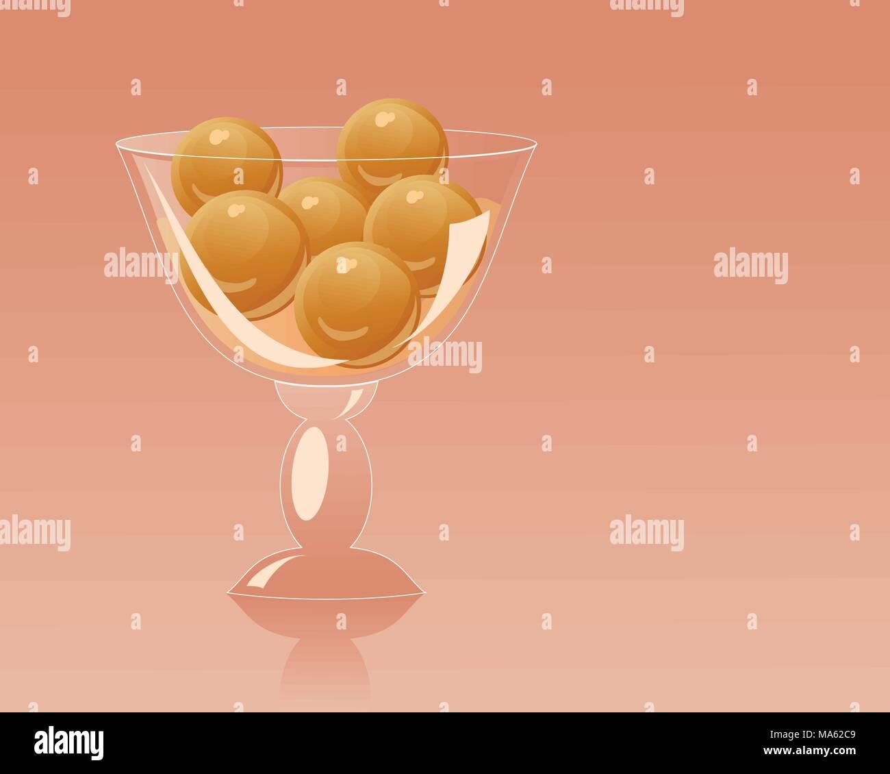Una illustrazione vettoriale in formato eps formato 10 di una fantasia di dessert di vetro ciotola con deliziosa Gulab Jamun su un arancione sfondo rosso Immagini Stock