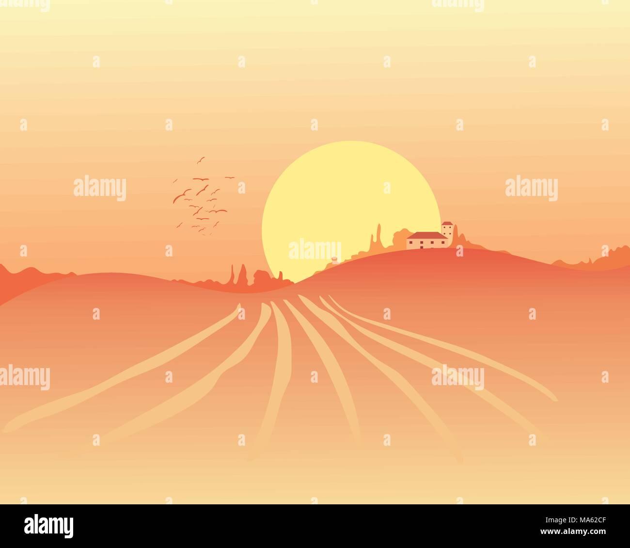 Una illustrazione vettoriale in formato eps formato 10 di una golden harvest paesaggio con casa colonica e alberi sotto un caldo sole giallo in tarda estate Immagini Stock