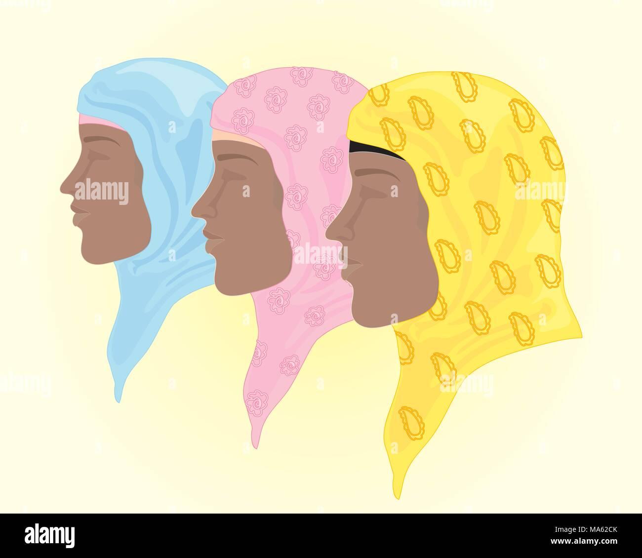 Una illustrazione vettoriale in formato eps di colorate hijab velo in Rosa blu e giallo con spazio di sfondo per il testo Immagini Stock