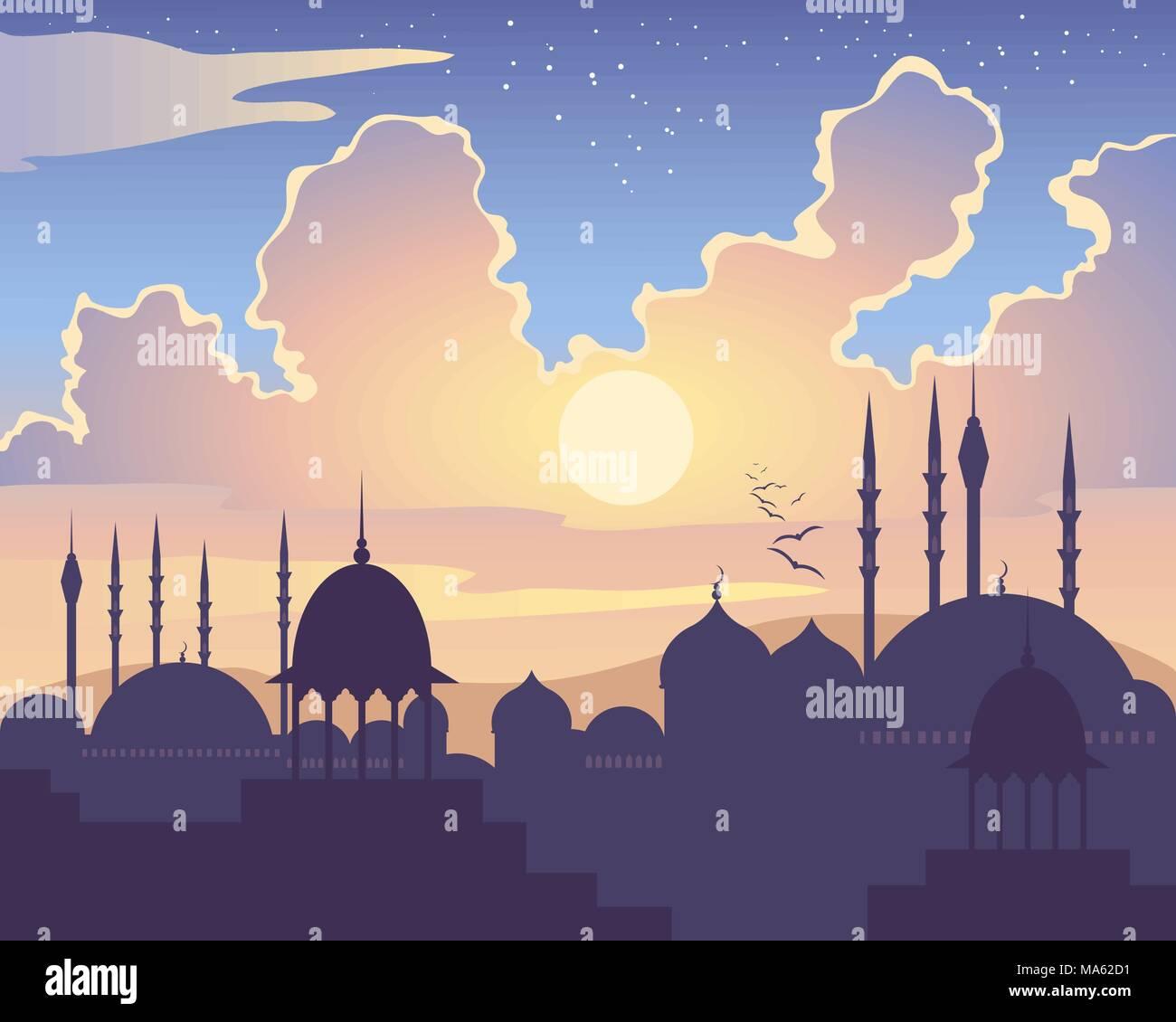 Una illustrazione vettoriale in formato eps formato 10 di un islamico skyline al tramonto con architettura asiatica moschee cupole e minareti sotto un variopinto cielo stellato Immagini Stock