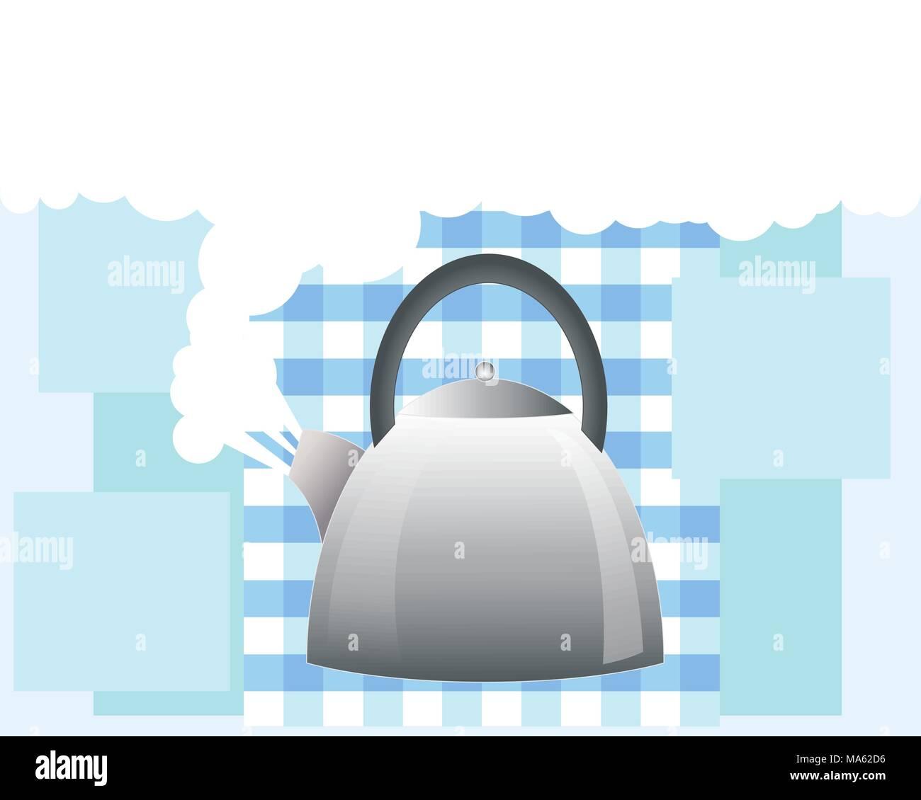 Una illustrazione vettoriale in formato eps formato 10 di un acciaio inossidabile bollitore ebollizione con vapore bianco su un gingham e blu sullo sfondo del blocco con spazio per il testo Immagini Stock