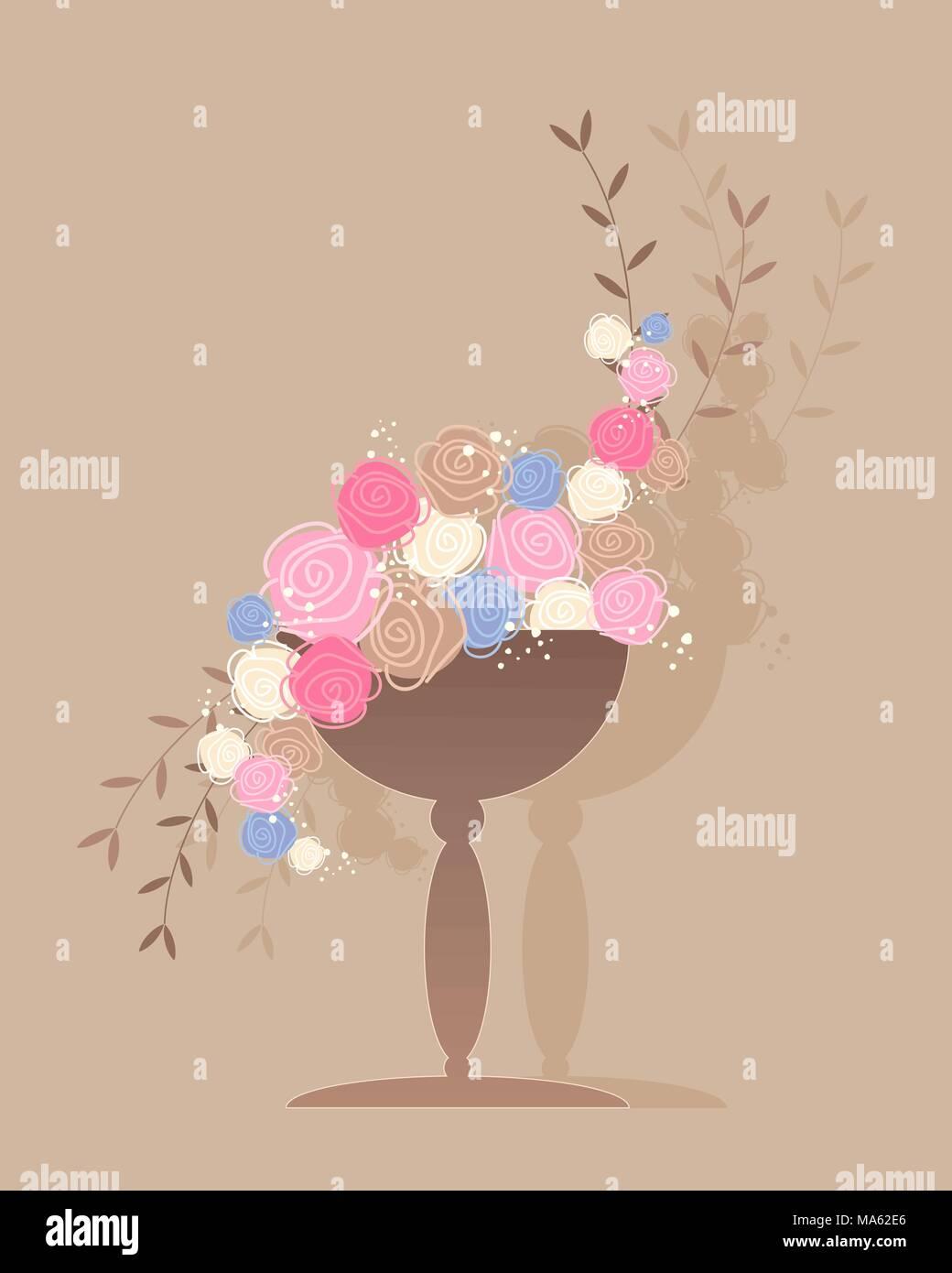 Una illustrazione vettoriale in formato eps di una pianta ornamentale vaso pieno di rose astratto in marrone rosa blu e crema nel saluto formato carta Immagini Stock