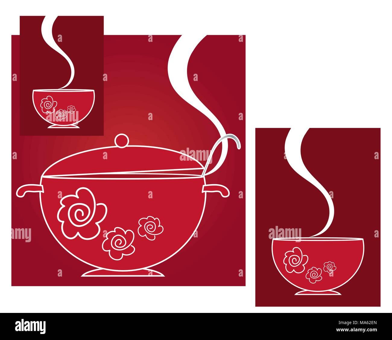 Una illustrazione vettoriale in formato eps di un rosso zuppiera e due contenitori per la cottura a vapore in un disegno astratto con uno spazio bianco per il testo Immagini Stock