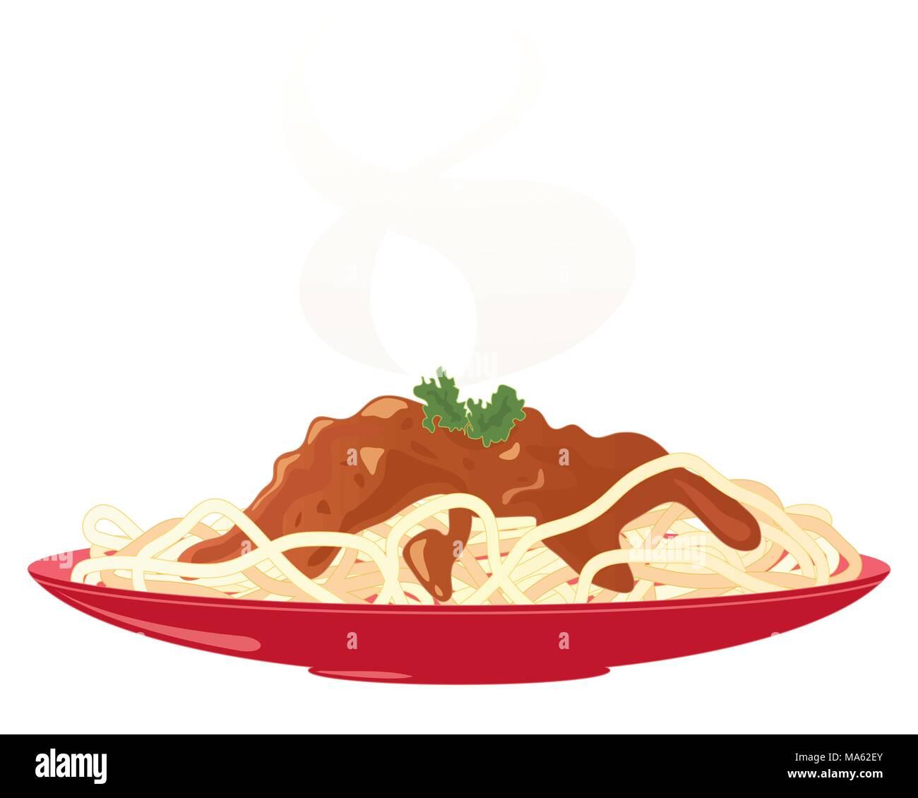 Una illustrazione vettoriale in formato eps di una targhetta rossa con un pasto delizioso spaghetti alla bolognese e prezzemolo e guarnire con vapore Immagini Stock