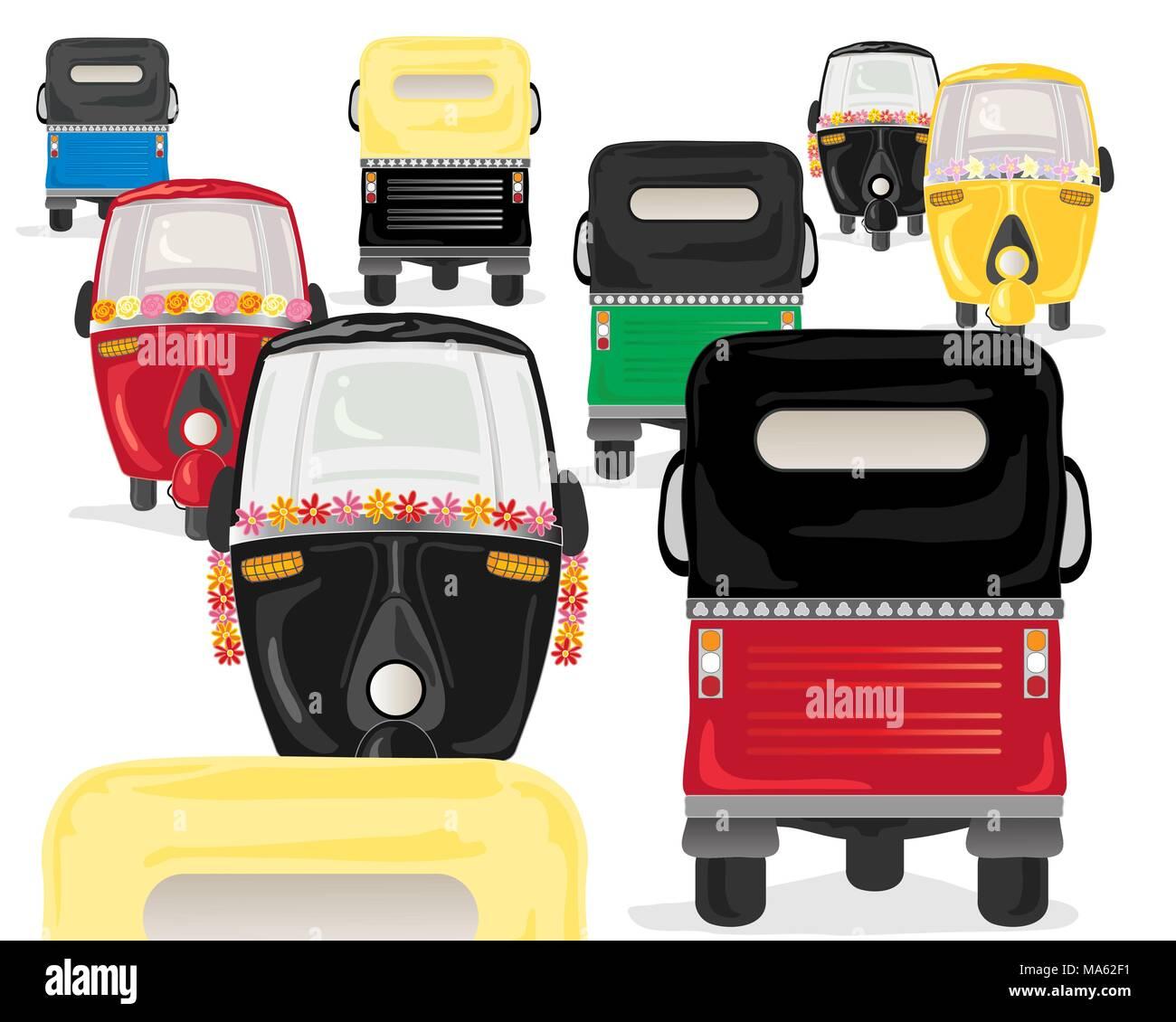 Una illustrazione vettoriale in formato eps formato 10 di coloratissimi tuk tuks in un ora di punta su sfondo bianco Immagini Stock