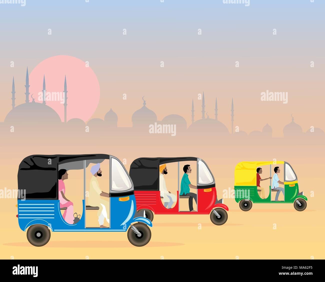 Una illustrazione vettoriale in formato eps formato 10 di tre asiatici colorati tuk tuks racing lungo in un polveroso assetto urbano di sera al tramonto Immagini Stock
