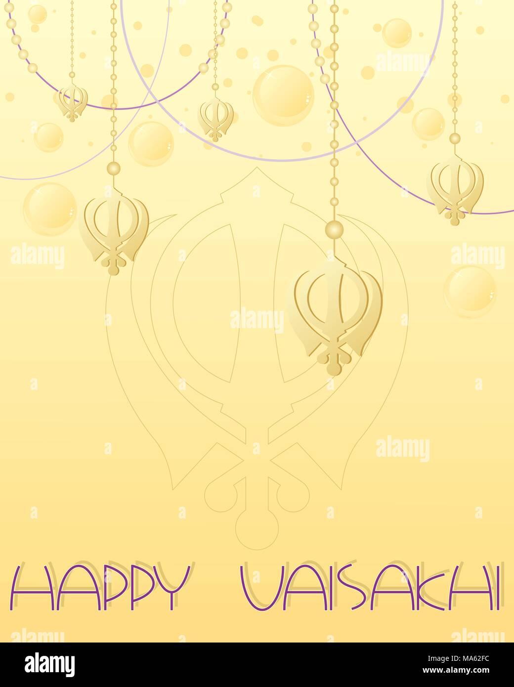 Una illustrazione vettoriale in formato eps formato 10 di una felice Vaisakhi greeting card design con golden simbolo Sikh sul filetto decorativo su un fondo dorato Immagini Stock