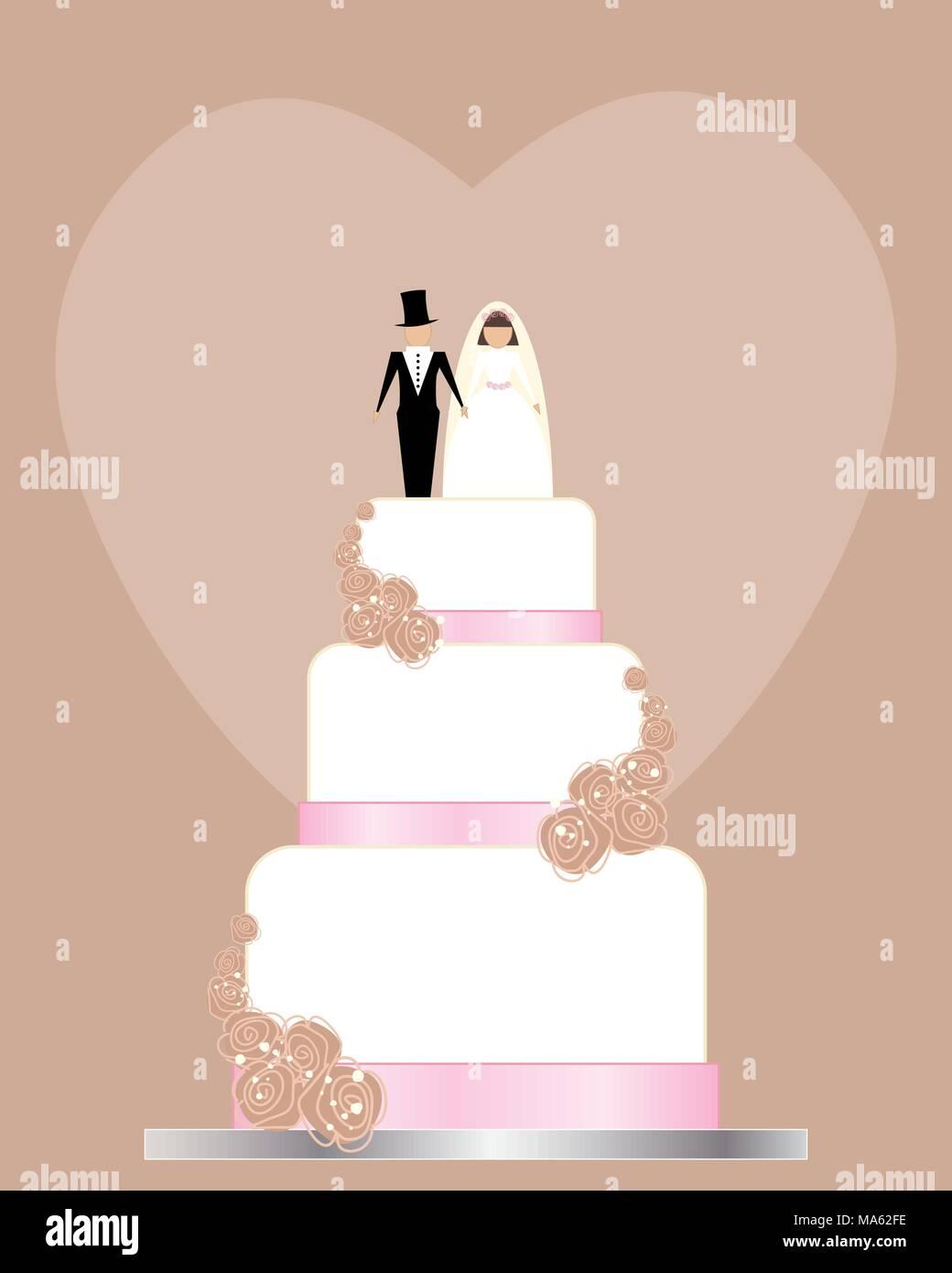 Una illustrazione vettoriale in formato eps formato 10 tradizionale di un invito a nozze in rosa e marrone e bianco con la torta di nozze di rose e la sposa e lo sposo Immagini Stock
