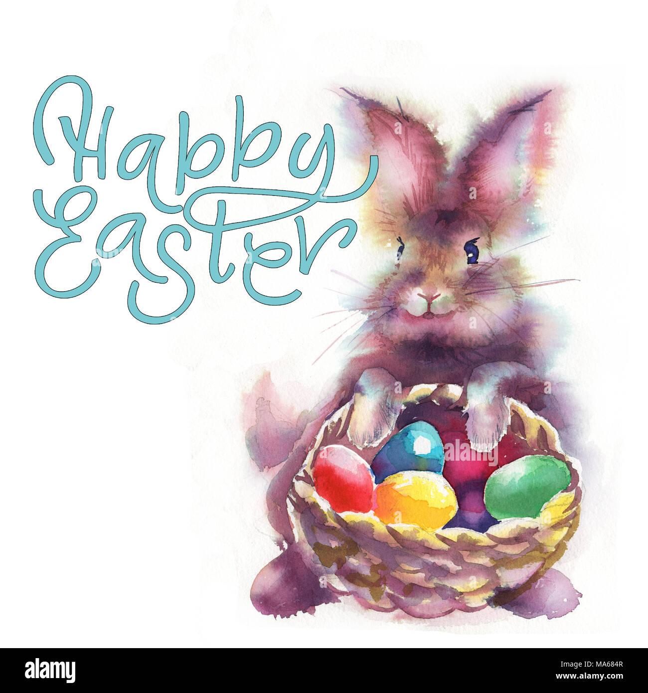 Conigli pasquali e uova di pasqua acquerelli di illustrazione con