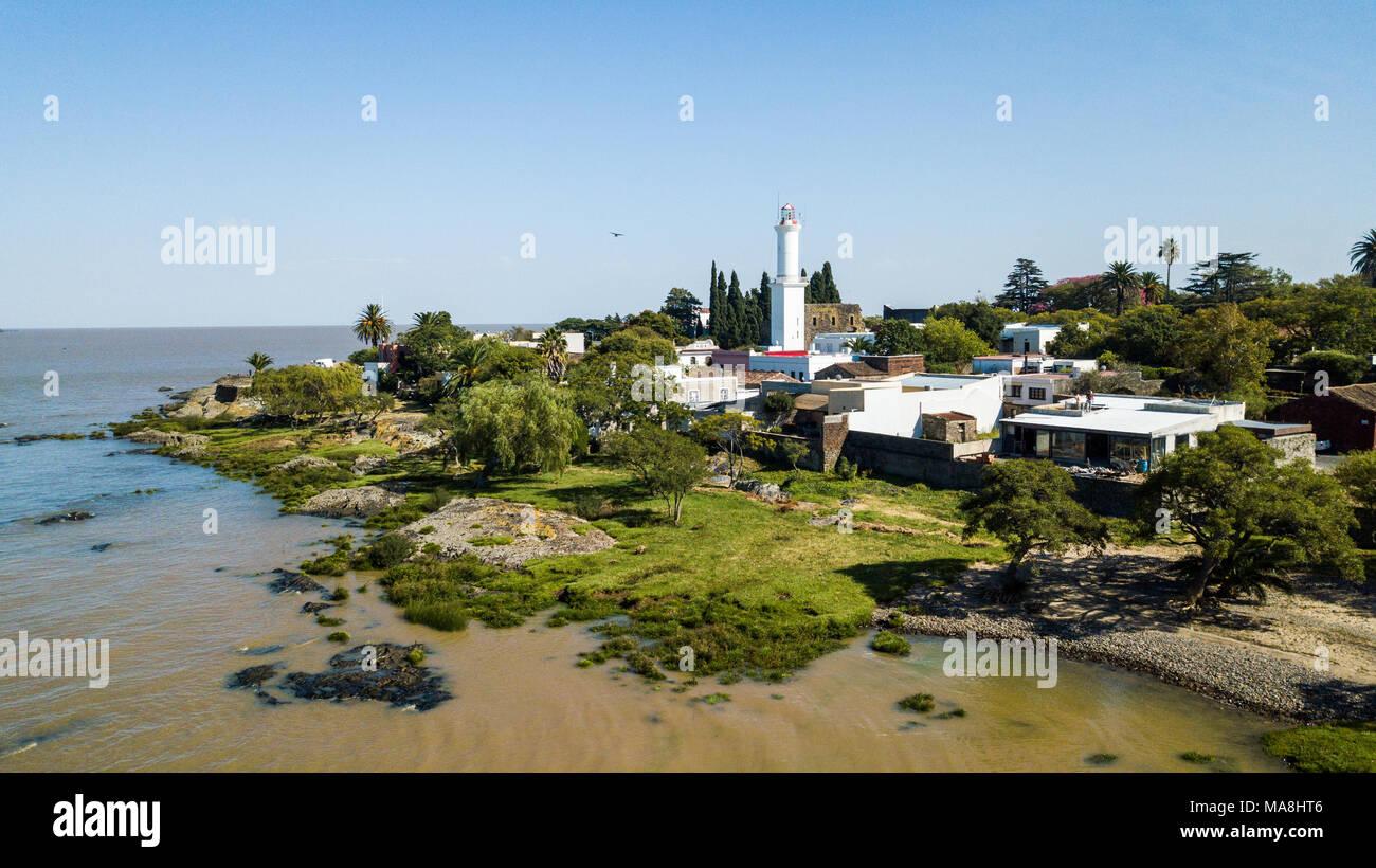 El Faro, vecchio faro e Colonia del Sacramento, Uruguay Immagini Stock