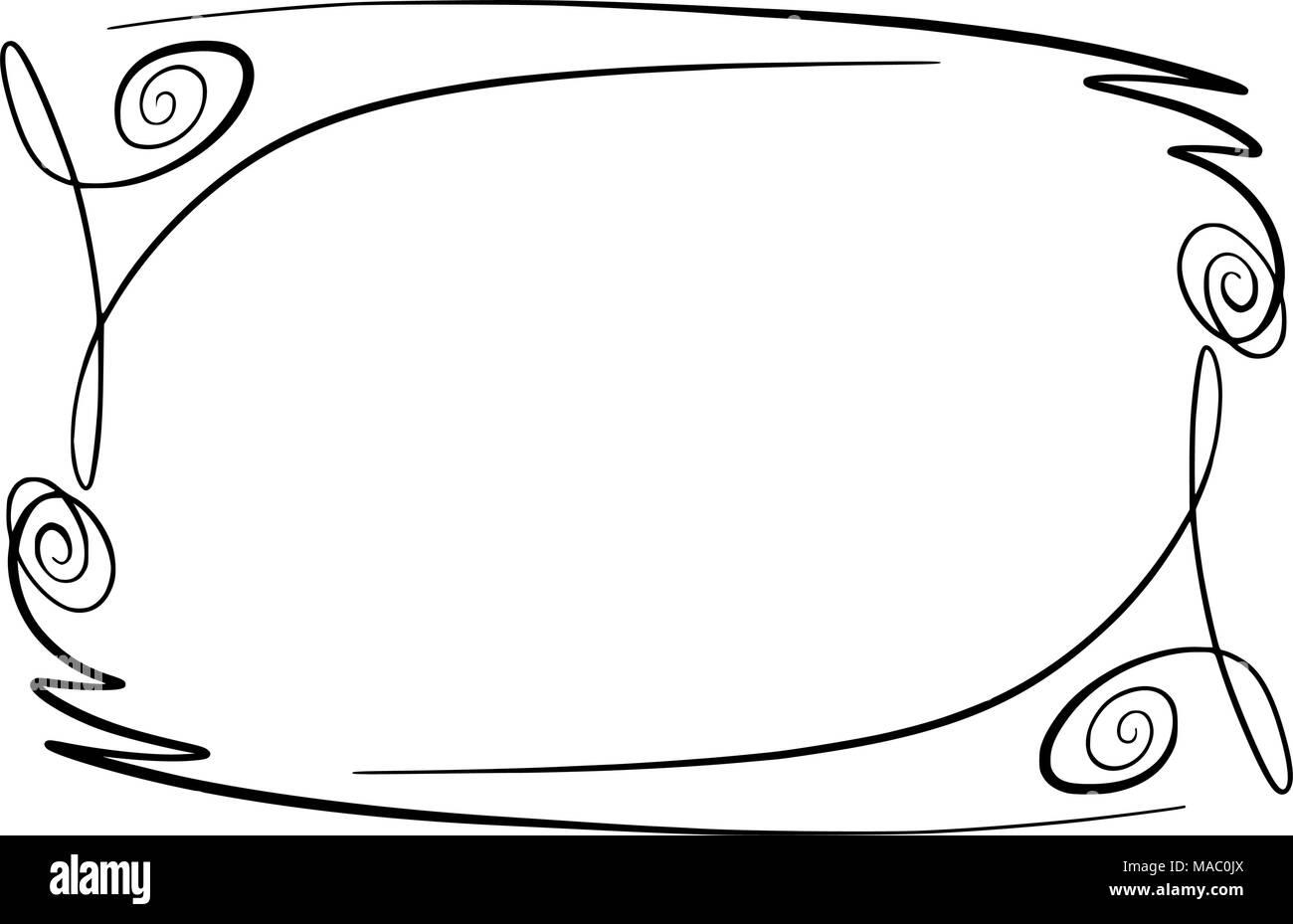 Fioriscono telaio del vettore. Rettangolo con squiggles, ghirigori e abbellimenti per immagine e di elementi di testo. Disegnato a mano evidenziando nero confine curlicue isolato su uno sfondo bianco. Doodle effetto. Segni di matita. In stile cartone animato. Le forme geometriche per la progettazione. Schizzo guardare Immagini Stock