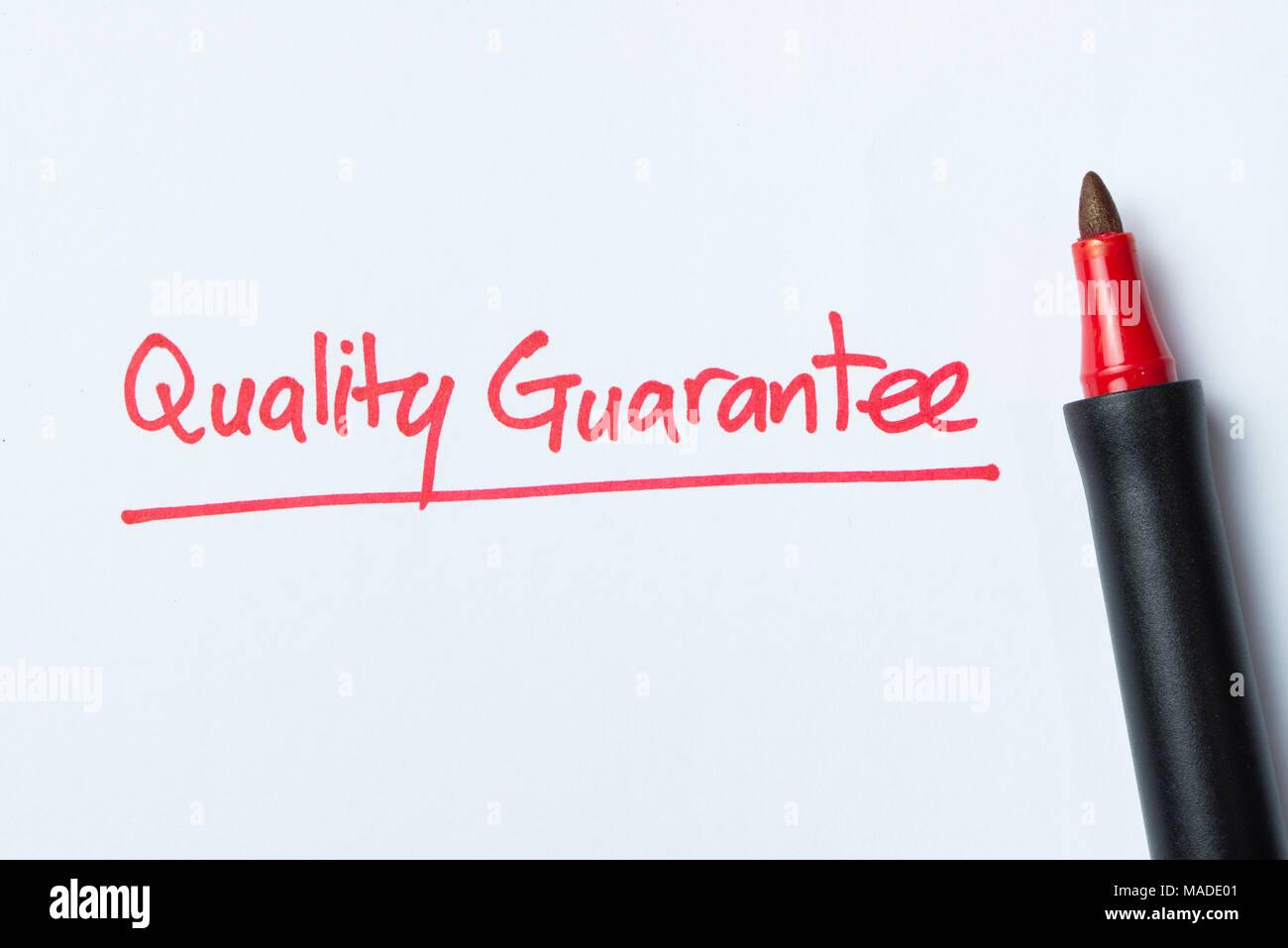 Scrittura di garanzia di qualità Immagini Stock