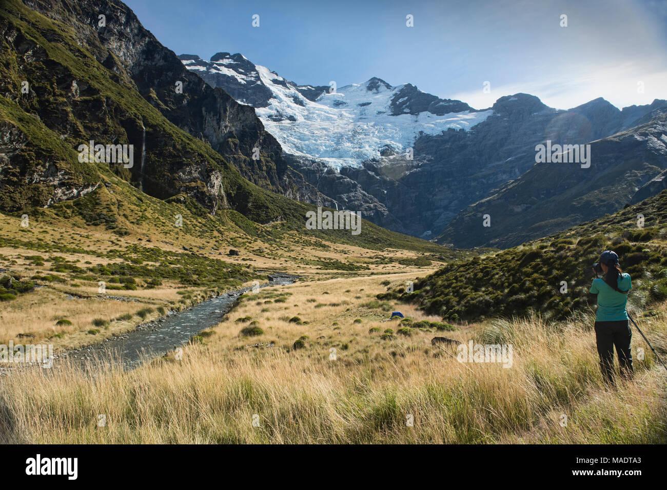Favoloso paesaggio sotto Mt. Earnslaw (Pikirakatahi), posizione per The Hobbit film Glenorchy, Nuova Zelanda Immagini Stock