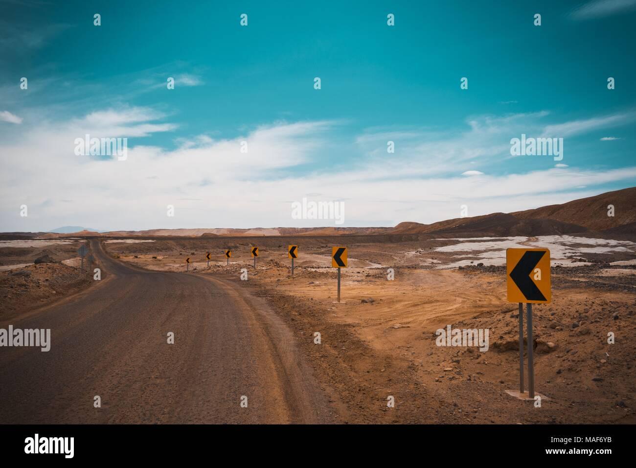 Strada di Atacama, Cile Immagini Stock
