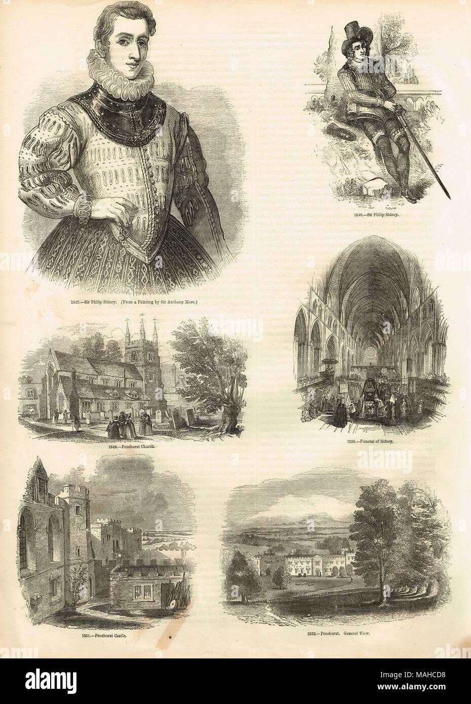 Le immagini relative a Sir Philip Sidney, 1554-1586, poeta inglese, cortigiano, studioso, soldato, figura di spicco del Elizabethan age Immagini Stock