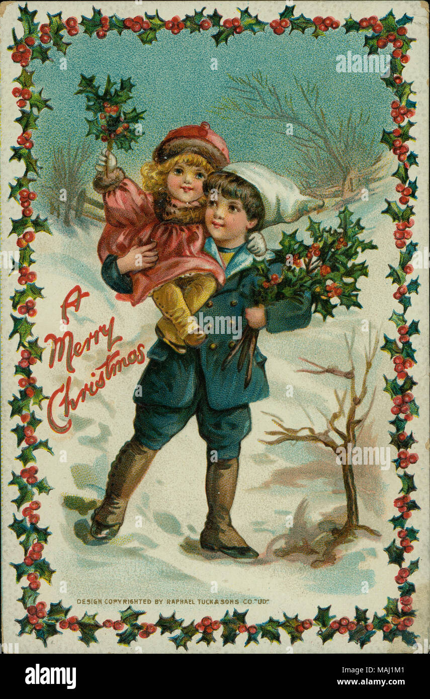 Cartoline Di Natale Vintage Da Stampare.Cartolina Di Natale Con Un Giovane Ragazzo Che Trasportano