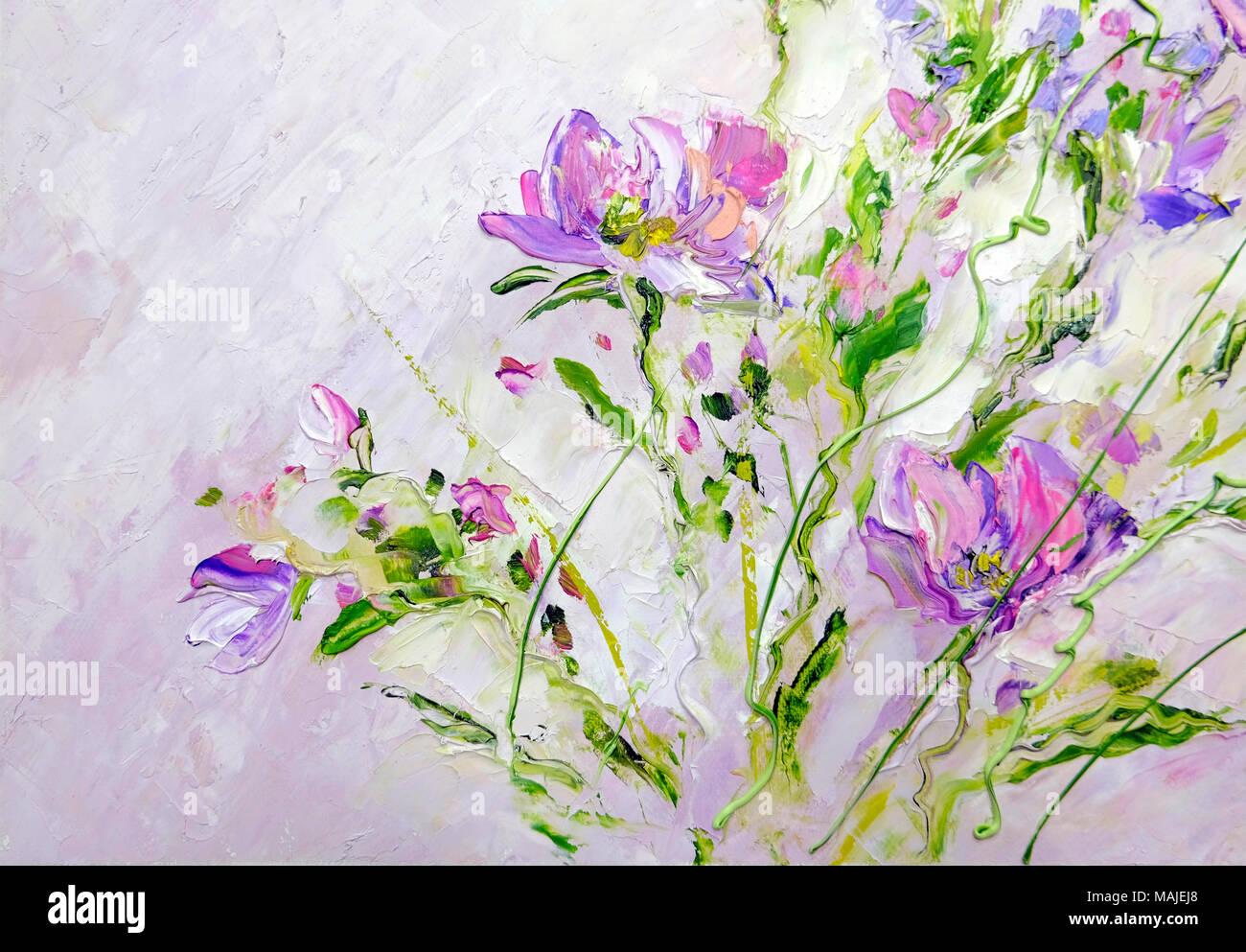 Dipinti a mano in stile moderno fiori di colore rosa Foto & Immagine ...