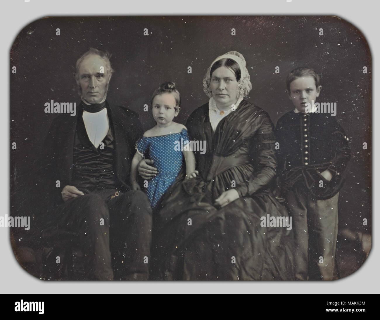 . Inglese: Sig.ra Stanford della madre, padre e la famiglia . 1800/1899 Immagini Stock