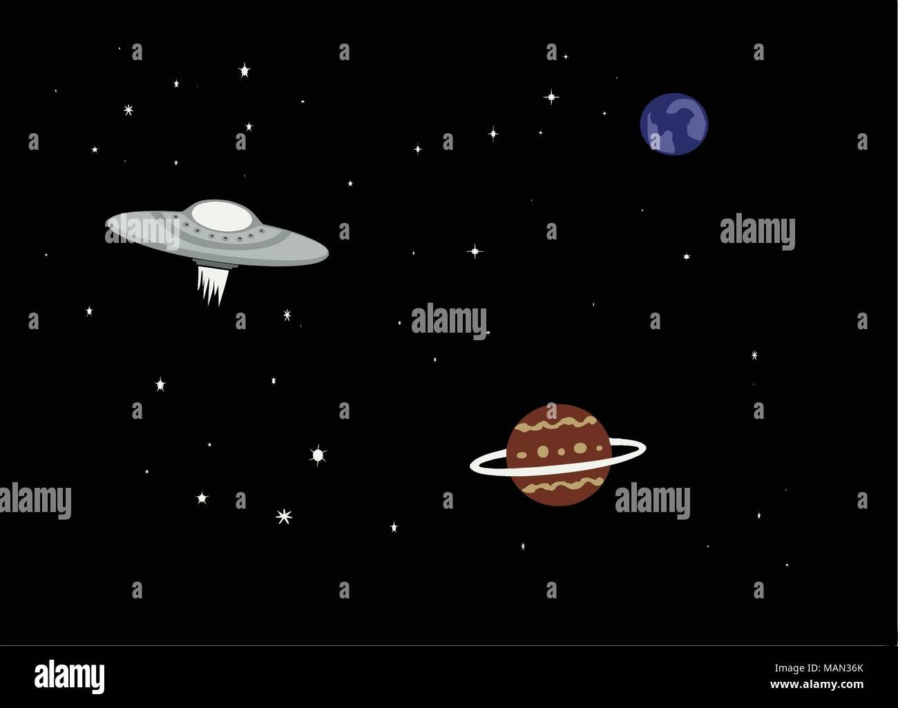 Semplice illustrazione di un ufo astronave nello spazio con i