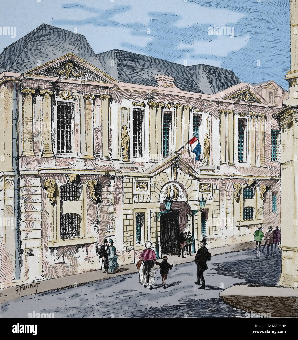 La Francia. Parigi. Archivio storico presso l'hotel Carnavalet. Incisione del XIX secolo. Immagini Stock