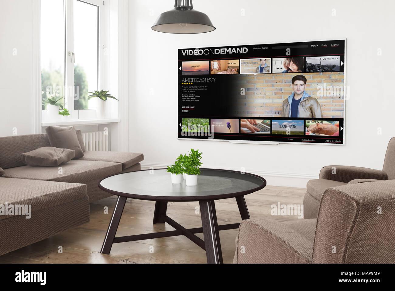 Panoramica moderne smart tv su un rendering 3D soggiorno con video ...