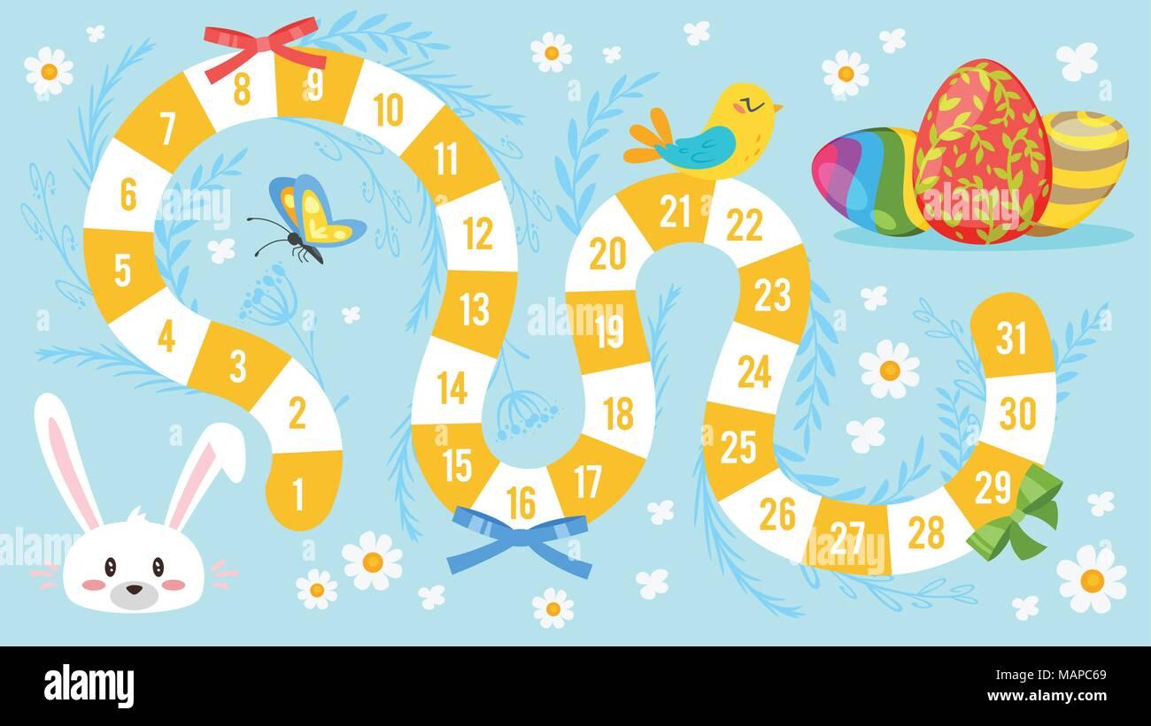 Vettore Stile Fumetto Illustrazione Della Pasqua Per Bambini Gioco