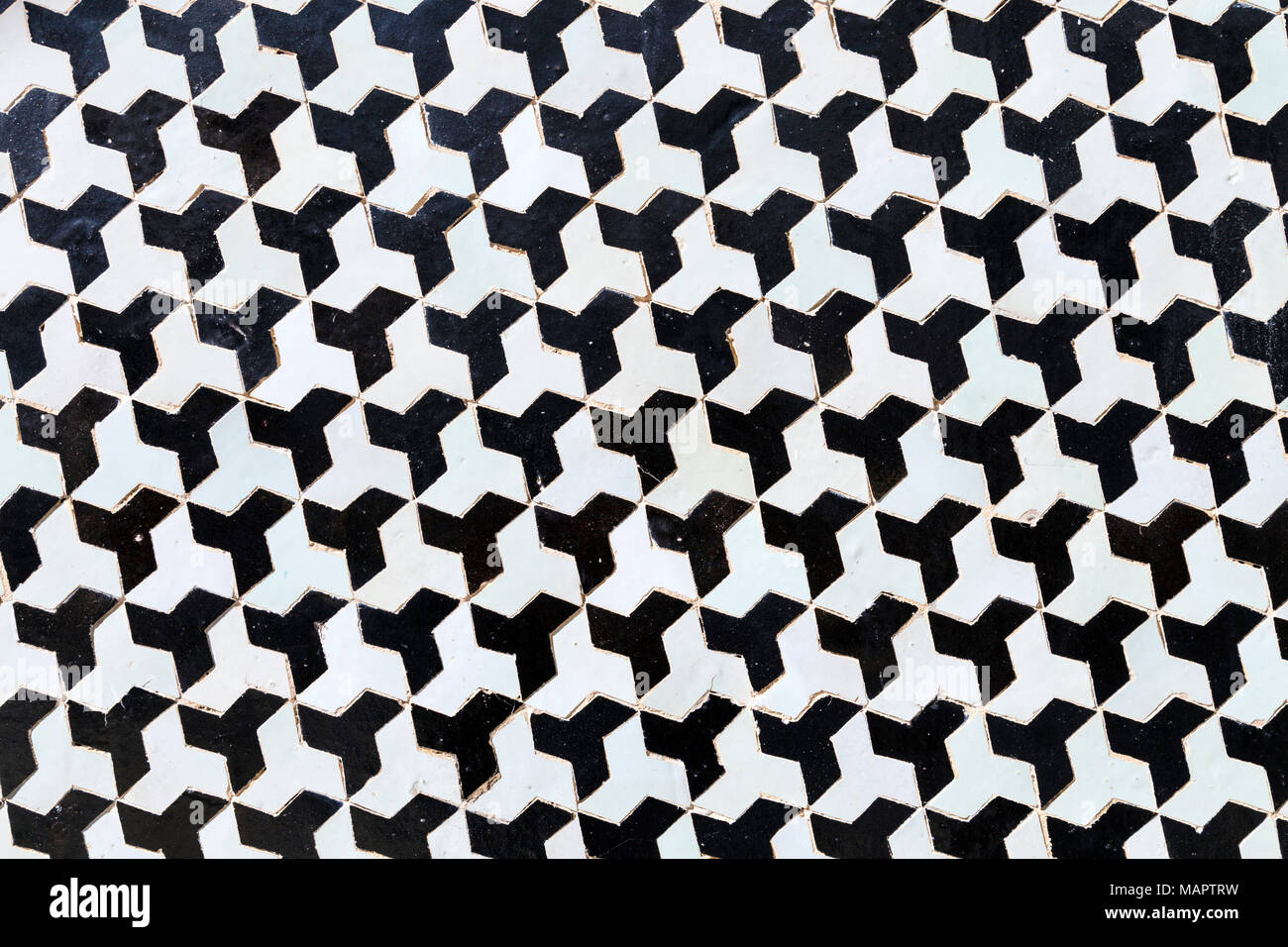 Bianco e nero marocchino geometrica a mosaico a parete palais el