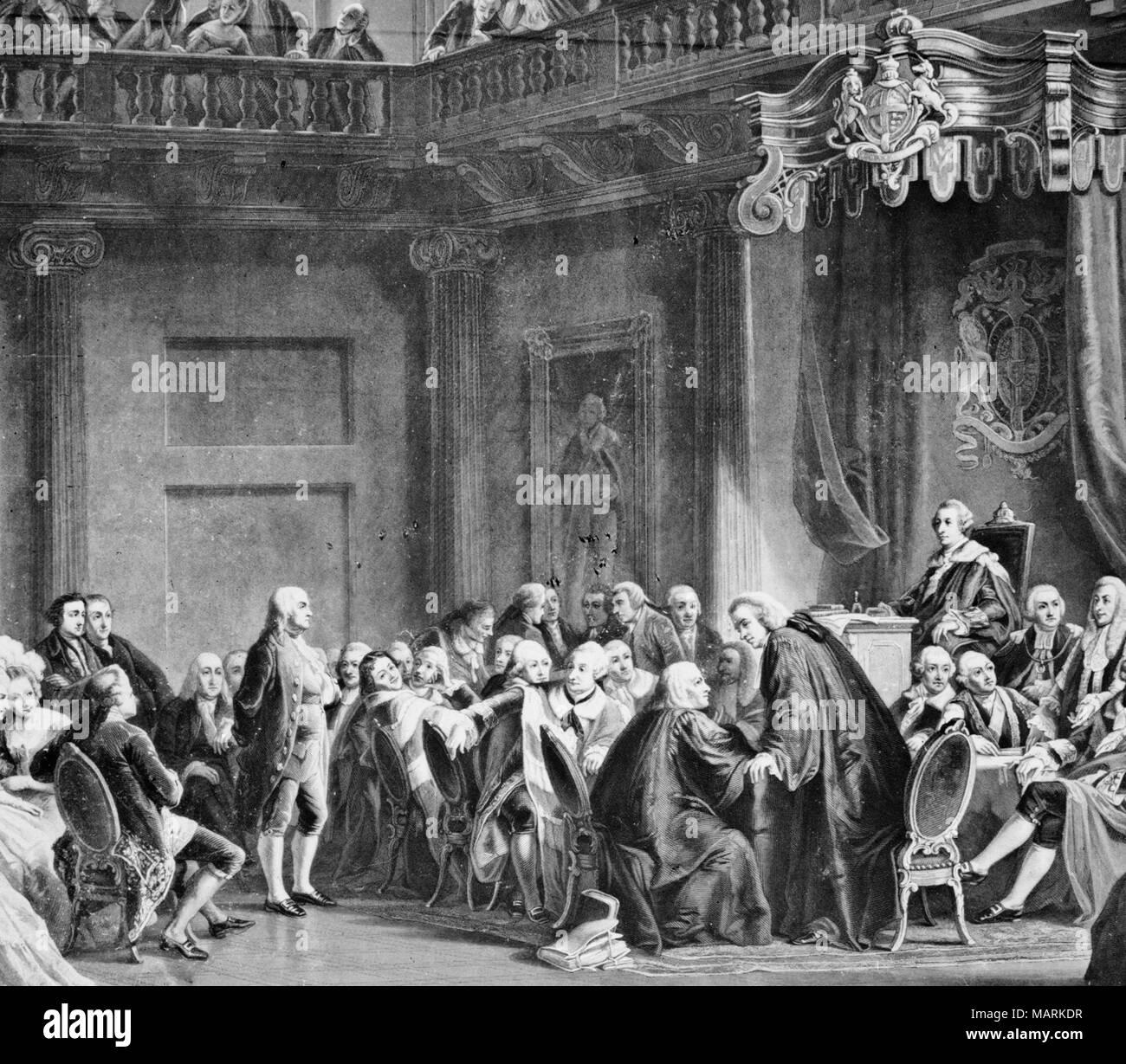 Benjamin Franklin presso la corte di San Giacomo; immagine raffigura la sessione del Consiglio Privy in cui Franklin è harangued per il suo ruolo nell'Hutchinson lettere vicenda nel 1774. Franklin lascia Inghilterra non molto tempo dopo, impegnati a indipendenza americana. Immagini Stock